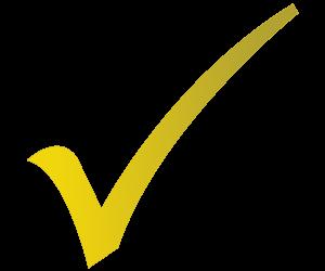 סימן checkmark בצבע צהוב על רקע אפור
